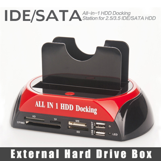 "All In 1 HDD Docking Station Dual 2.5"" 3.5"" IDE SATA External HDD Box USB2.0 Card Reader External Storage Enclosure for Computer(China (Mainland))"