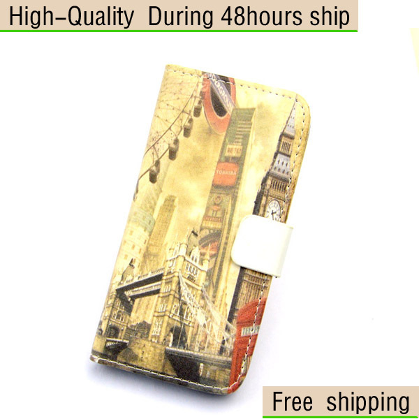 New Luxury Illustration Diary Leather Wallet Book Style Flip Skin Case for iphone 5 5G 5th Free Shipping UPS DHL EMS HKPAM