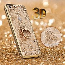 For iPhone 7 Case Luxury 3D Soft Plastic Case Coque For iphone7 Silicon Glitter Rhinestone Cover For iPhone 7 Plus Stand Cover(China (Mainland))