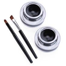 Professional Waterproof Eyeliner Gel Makeup Sets 2 in 1 Black Gel Eyeliner Makeup Fashion Black Beauty Cosmetic Brand Promotion(China (Mainland))