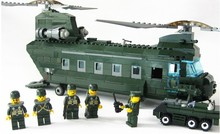 KAZI 84009 3D construction educational Building Blocks Set Military Compatible with legoe transport aircraft Helicopter kids toy