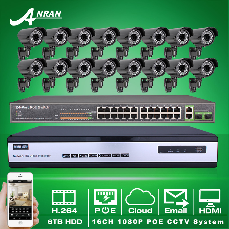 6TB HDD Onvif 16CH H.264 NVR Network Video CCTV System 24CH Switch 1080P 2MP Varifocal 2.8-12mm Outdoor IR Network IP POE Camera(China (Mainland))