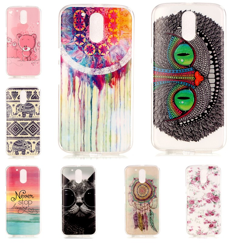 Phone Cases For Motorola Moto G4 Plus G 4 Play X Silicon Cover Cases Coque Etui Soft Back Shell Owl Eyes Color Flower Glass Cat(China (Mainland))