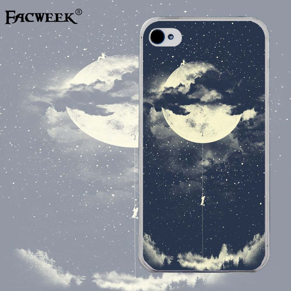 Mountain Beautiful Moon View Mobile Phone Shell Coque For Apple Iphone 4 4s Silicone Back Cover For Iphone4 Cell Phone Cases(China (Mainland))