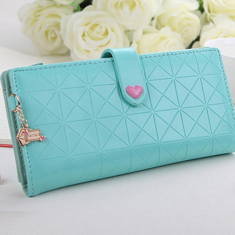 Candy Color Women Wallets Quilted Heart Handbags Zipper Wallet Lady Clutch Coin Purse Carteira Feminina Money Bags(China (Mainland))