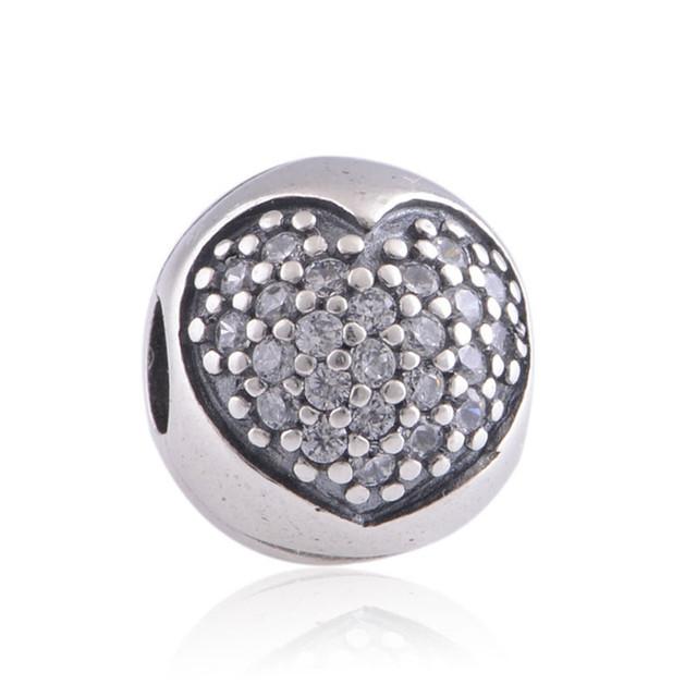 925 серебряные ювелирные изделия клип вымощают в форме сердца CZ шар прелести бусины Fit пандора и ожерелья DIY ювелирных оптовая продажа