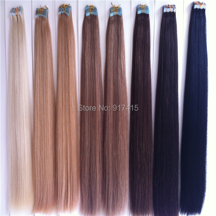 5A Pu Skin Weft Hair Brazilian 18 20 22 24 Strong Blue Lace Tape Adhesive Virgin Remy Human Hair Extensions<br><br>Aliexpress