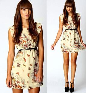 انخفاض سعر ثوب المرأة الصيف 2015 الأزهار طباعة الفراشة حزب اللباس عارضة فستان من الشيفون مصغرة رخيصة الملابسحجم s- xl(China (Mainland))