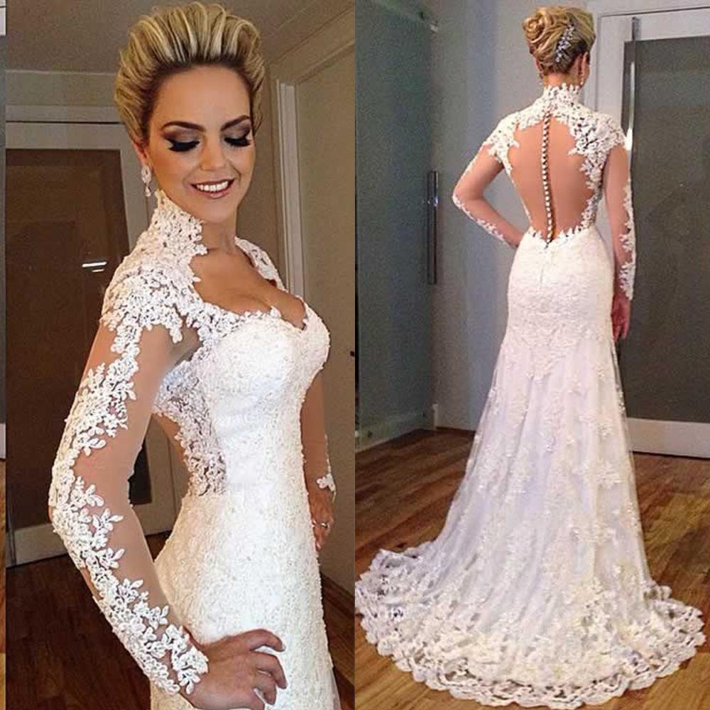 illusion Long Sleeves With Appliques Wedding Dresses 2015 White Square Neck A Line Sexy Back Court Train Lace Bridal Gowns(China (Mainland))