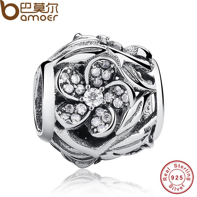 Free Ship Charms Fit Original Bracelet Necklace Pure 925 Sterling Silver Mystic Floral, Clear CZ Beads DIY Jewelry Gift PAS119(China (Mainland))