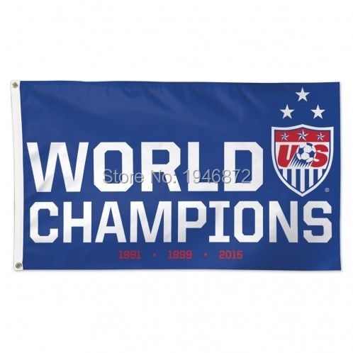 United States USA Womens Soccer 2015 World Cup Champions Outdoor Flag 3X5FT Custom Sports Team Flag(China (Mainland))