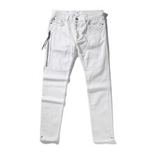 2017 Mens Biker Jeans hiphop Slim Fit Washed Black Denim Pants Joggers For Skinny Men side zipper(China)