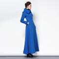 2016 Winter New Fashion Women S Woolen Trench Coat Blue Color Plus Size Slim Wool Overcoat