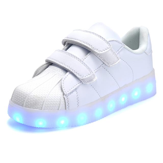 2016 Новорожденных Девочек/Мальчиков Свет Кроссовки, 7 LED Цвета Дети Мода USB Зарядка Кроссовки, дети Мигающий Свет Обувь