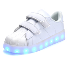 2016 Baby Girls/Boys LED Light Sneakers, 7 LED Colors Children Fashion USB Charging Sneakers, Kids Flashing Lights Shoes(China (Mainland))