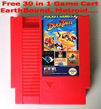 Free 30 in 1 game Earthbound, Final Fantasy123, Faxanadu, TheZeldaI&II, Zen, NES 72 Pins RED Game Cartridge Replacement Shell