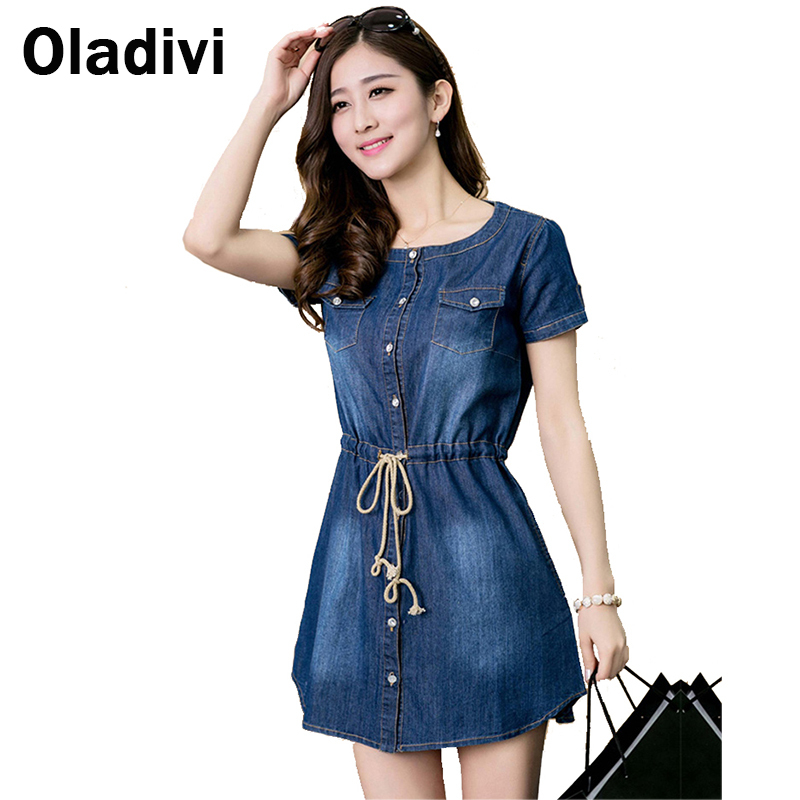 XXXXXL New 2015 Fashion Denim Dresses Ladies Jeans Dress for Summer Casual Big Size Women Clothes Plus Size Women's Clothing 5XL(China (Mainland))