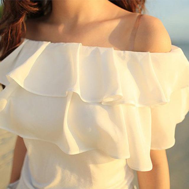 Блуза с открытыми плечами и воланом своими руками 9