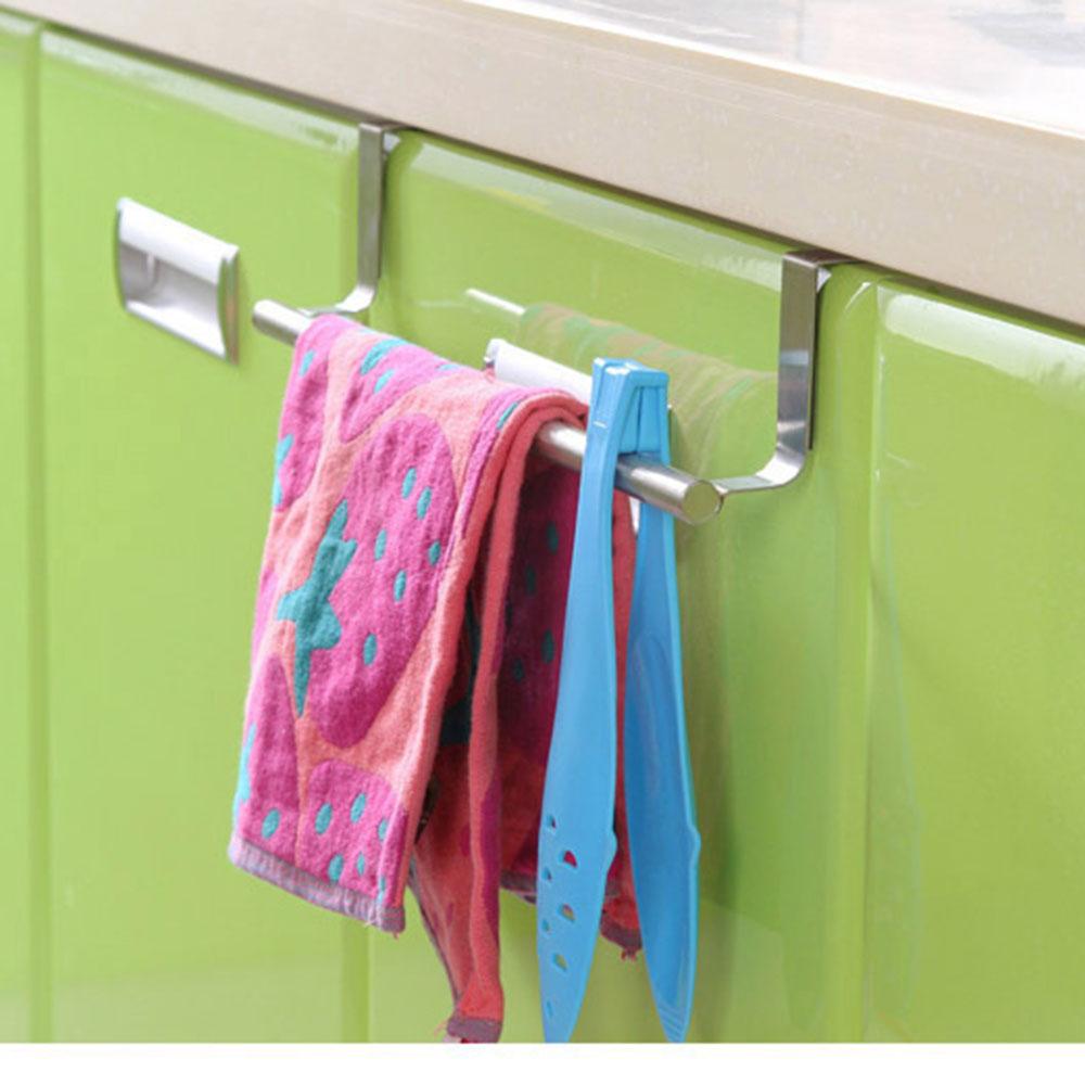 Stainless Steel Towel Rail Hanger Bar Holder Over the Kitchen Cabinet Cupboard Door Hanging Rack(China (Mainland))