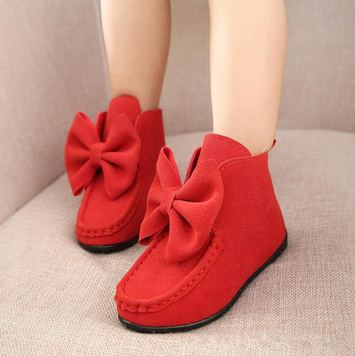 New 2015 Children Girls Fashion Bow Boots Kids Ankle Flat Boots Child Spring Princess Butterfly Boots Size 21-36 #KC17(China (Mainland))