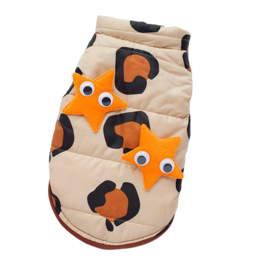 Newly Design Winter Dog Clothes Star Attached Small Pets Dogs Coat Jackets Outdoor Fun Outwear Apparel Aug21(China (Mainland))