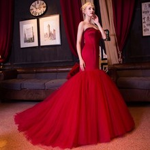 Wine Red Long Mermaid Evening Dress Party Sweetheart Tulle Formal Evening Gowns Dresses robe de soiree longue(China (Mainland))