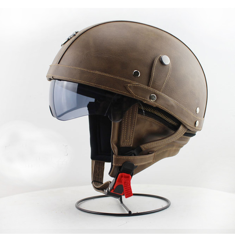 2016 Handmade Motorcycle Vintage Half Face Helmet With Smoke Len For Adults Harley Half Face ...
