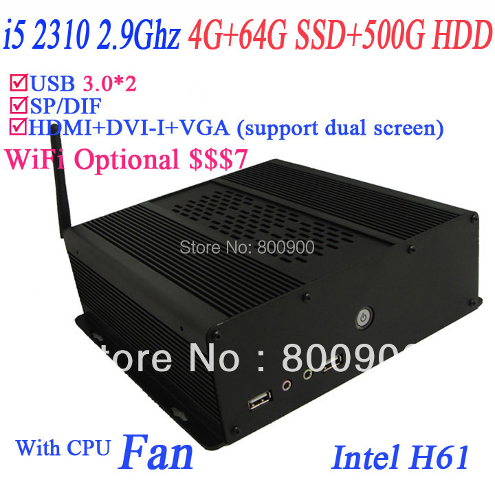 2013 hot core i5 desktop with H61 chipset HDMI VGA DVI SP/DIF intel i5 quad core 2.9Ghz alluminum black chassis HD 2000 Graphic<br><br>Aliexpress