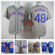 New york mets 48 jacob degrom maglie 2015 new ricamo camicia cucita sports dress factory outlet di trasporto camisa(China (Mainland))