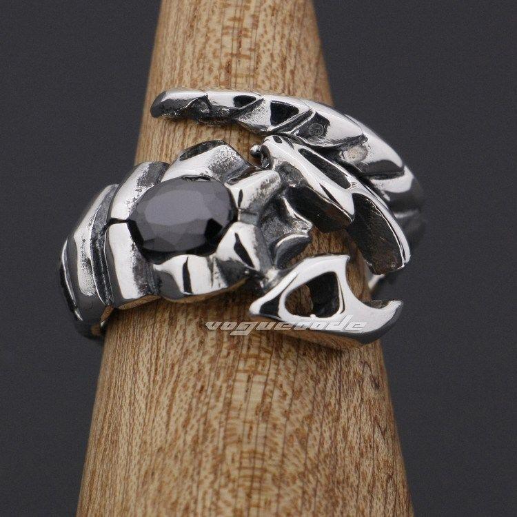 925 Sterling Silver Ruby CZ Stone Tribal Scorpion Mens Biker Ring 9D002<br><br>Aliexpress
