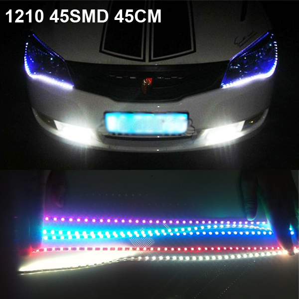 New 2014 2x45cm 1210 45SMD Universal Car Styling DRL strip LED Daytime running lights waterproof High Quality Free Shipping(China (Mainland))