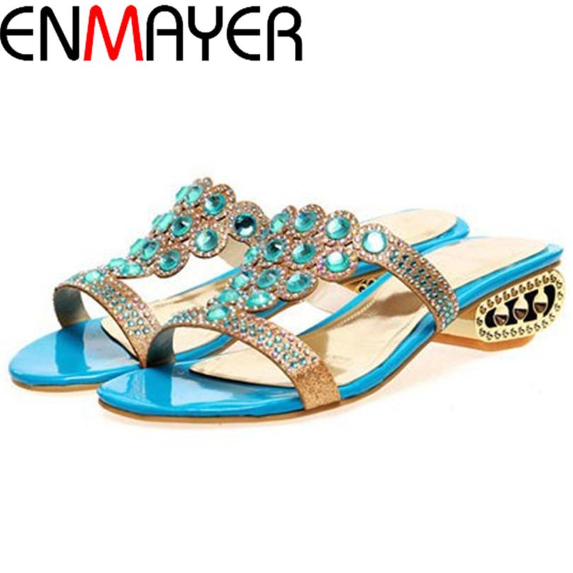 ENMAYERSummer sandals Slip-On Crystal Sandals shoes women Leisure travel party shoes Slides Rhinestone Decoration wedges sandals<br><br>Aliexpress