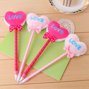 No min order limit+free shipping! 4 pcs Love Heart shape stationery aesthetic gel pen ballpoint pen, good gift and table docor(China (Mainland))