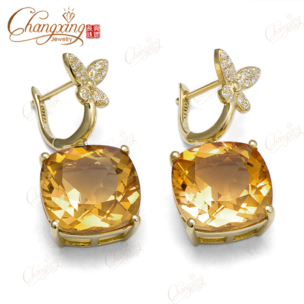 New Design Solid 14k Yellow Gold 15.82ct Flawless Citrine Butterfly Dangle Earrings<br><br>Aliexpress
