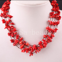 """Stone 5X8MM Chip Beads Nylon Line Weave Red Sea Coral Necklace 19"""" 1Pcs E077(China (Mainland))"""