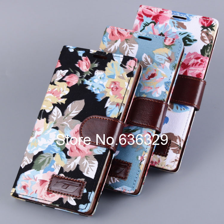 New Arrival 2014 Flower Pattern Holster Cover Case For Sony Xperia T3 Flip Cover Holder Phone Stand Wallet(China (Mainland))