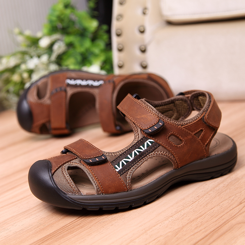 New 2015 Fashion genuine leather Men sandals outdoor shoes beach 39-45 size - DFKC FASHION store