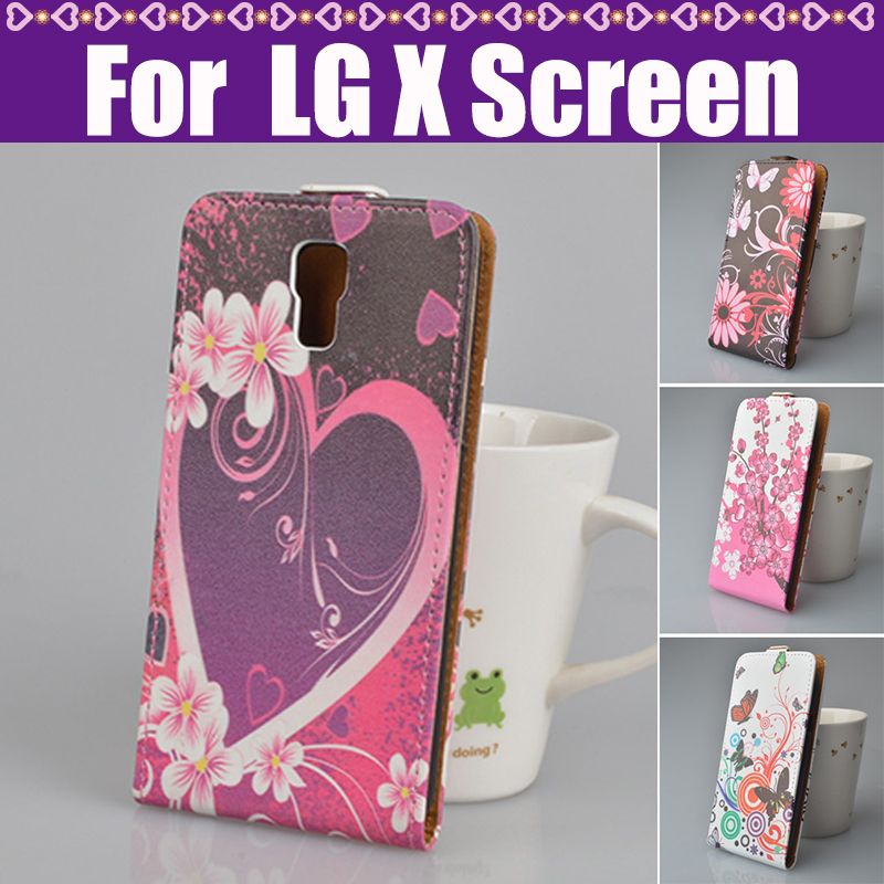 Cover For LG X Screen Mobile Case Fashion Cartoon Up And Down Open Leather Flip Cover Case For LG X Screen Phone Case In Stock(China (Mainland))