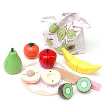 Woody puddy magnetic fruit qieqie look toy wooden(China (Mainland))