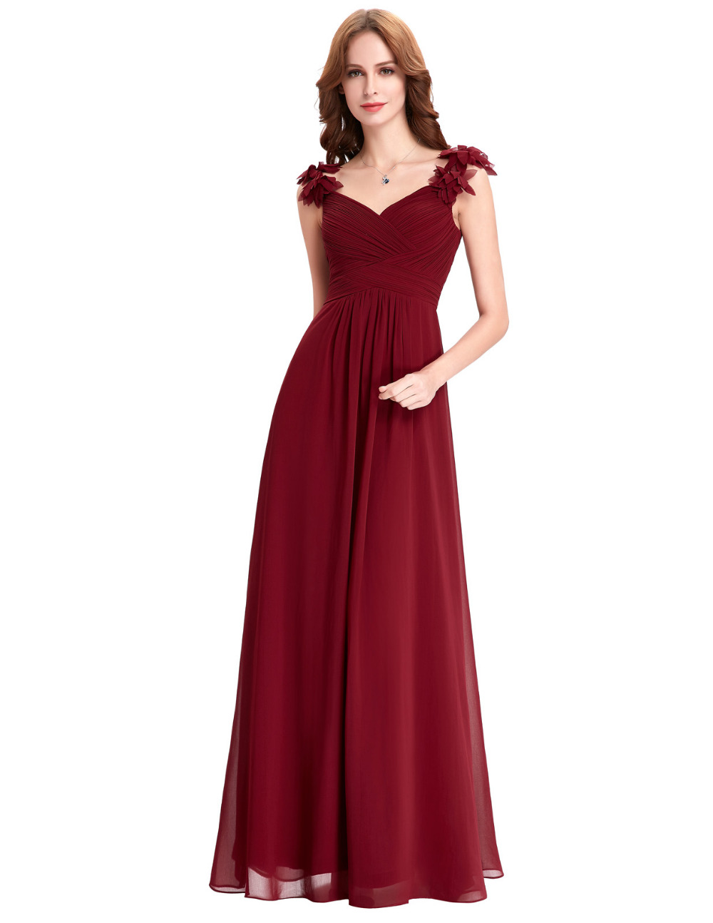 bridesmaid dresses long chiffon applique prom dresses