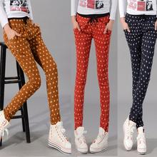 2013 free ship Elastic 2013 polka dot elastic waist casual trousers harem pants female plus size pencil pants(China (Mainland))