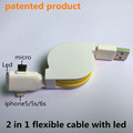 2 in 1 flexible led usb cable Charging and data sync Applicable to bq aquaris e5
