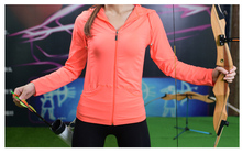 Neon color zipper sports fitness running slim women's top hoodie 2015 new sports exercise cloth