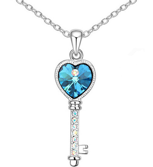 JS N267 Love Key Necklace White Gold Plated Heart Jewelry Nickel Free Necklaces Female(China (Mainland))