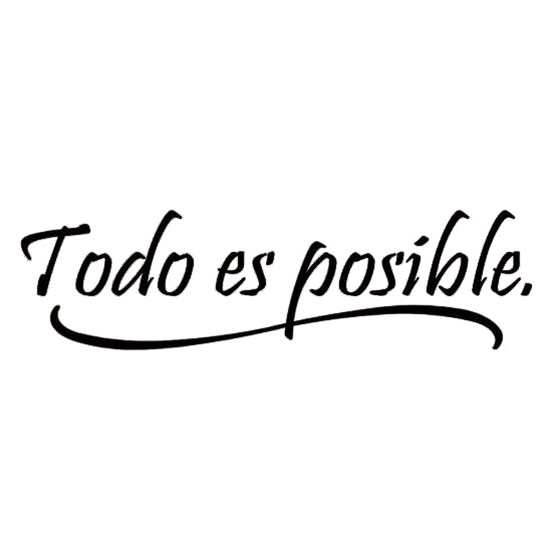 Everything Is Possible Spanish Inspiring Quotes Wall Sticker Home Decor Bedroom Kids Vinyl Wall Mural Decal(China (Mainland))