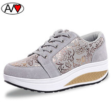 Floral Print Womens Platform Shoes 2016 Breathable Swing Wedges Shoe Women Casual Shoes Summer Outdoor Walking Zapatos