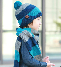2-8 Year Old Two Piece Set 2015 Kid Winter Hat Scarf Sets Knit Cotton Cap Earflap Scarf and Hat For Children Beanies 1Set/Lot(China (Mainland))