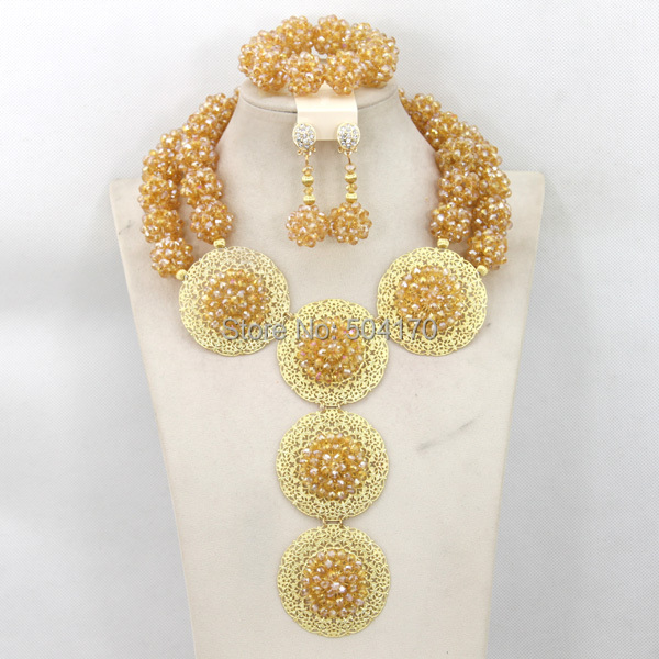 2015 Luxury Dubai Gold Jewelry Set African Bridal Beads Balls Crystal Women WB007