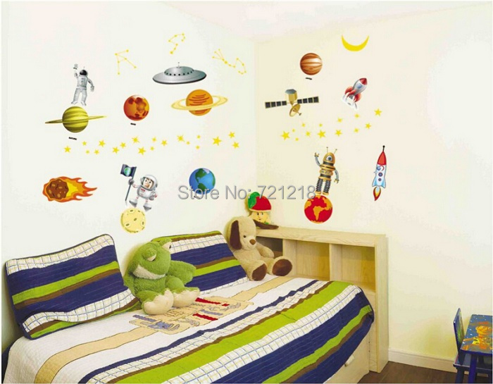 90 130cm New Outer Space Wall Stickers Pvc Transparent