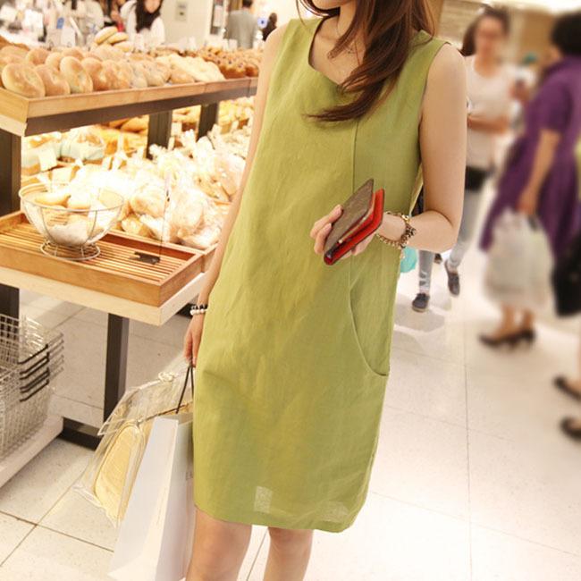 4 Colors Summer Dress 2015 New Fashion Linen Dress Sleeveless Cotton Linen Dress Plus Size Casual Dresses Women Vestidos Robe(China (Mainland))